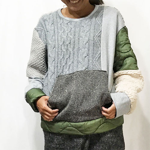 TOPS : PATCHWORK MIXED TOPS / GRAY MIX ¥22,680-