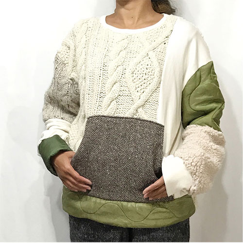 TOPS : PATCHWORK MIXED TOPS / WHITE MIX ¥22,680-